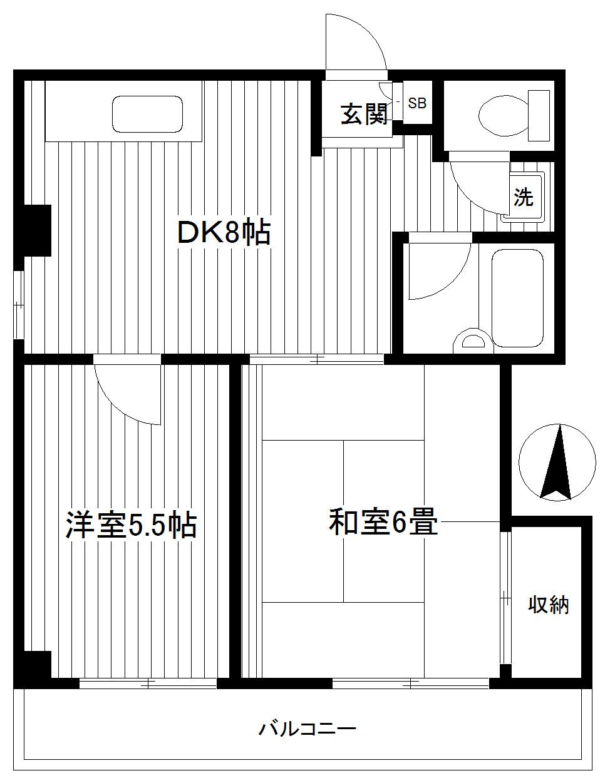 矢向 徒歩15分 5階 2DK 賃貸マンション