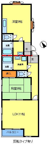 間取り/地積図1LDKタイプ