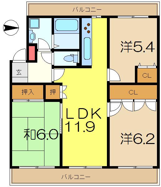 大船 バス19分 停歩6分 4階 3LDK 賃貸マンション