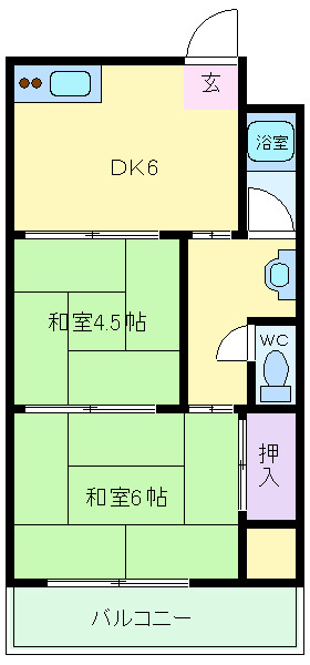 鶴ヶ丘 徒歩2分 3階 2DK 賃貸マンション