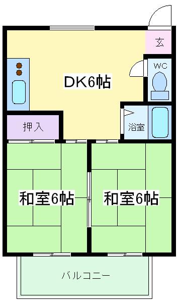 南田辺 徒歩2分 2階 2DK 賃貸マンション