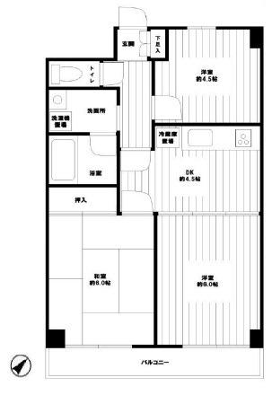 たまプラーザ 徒歩15分 2階 3DK 賃貸マンション