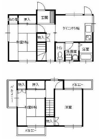 中山 徒歩20分 1-2階 3DK 賃貸貸家