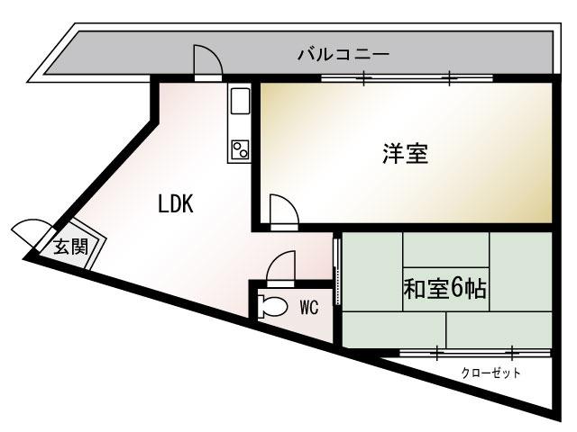大阪 徒歩16分 5階 2LDK 賃貸マンション