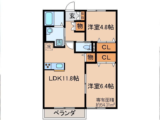 伊勢田 徒歩12分 2階 2LDK 賃貸アパート