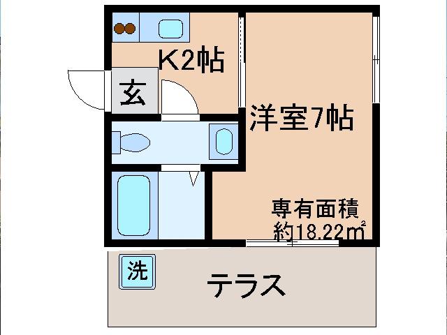 東野 徒歩22分 1階 1K 賃貸マンション