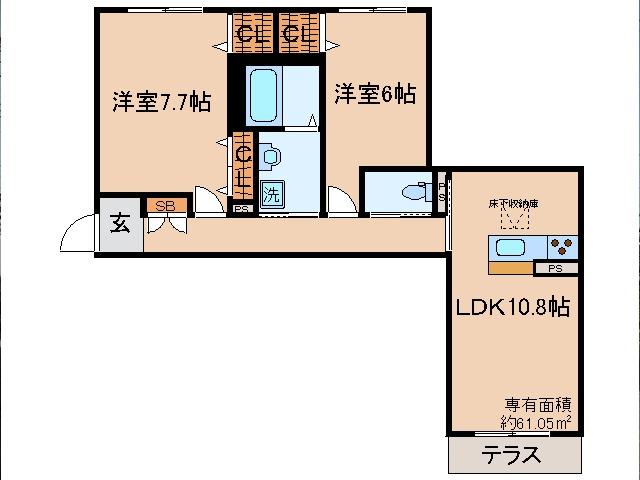 伊勢田 徒歩12分 1階 2LDK 賃貸マンション