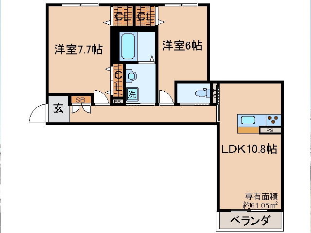 伊勢田 徒歩12分 2階 2LDK 賃貸マンション