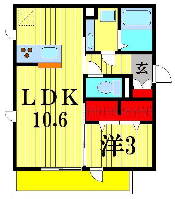 東松戸 徒歩17分 2階 1LDK 賃貸ハイツ