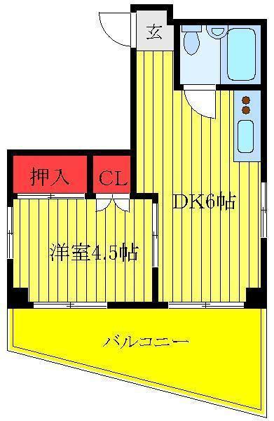 千石 徒歩15分 4階 1DK 賃貸マンション