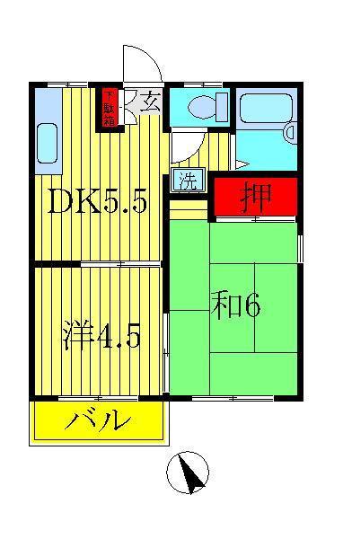 増尾 徒歩23分 2階 2K 賃貸アパート