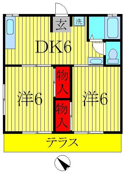 増尾 徒歩28分 1階 2DK 賃貸ハイツ