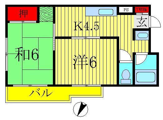 増尾 徒歩21分 1階 2K 賃貸マンション