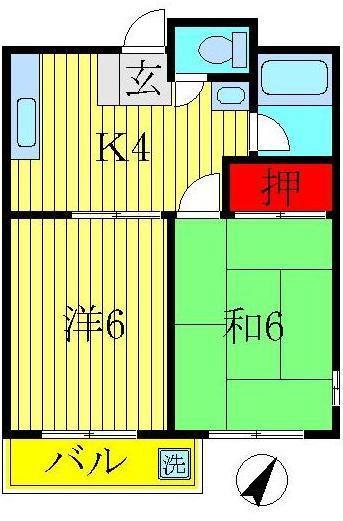 増尾 徒歩21分 3階 2K 賃貸マンション