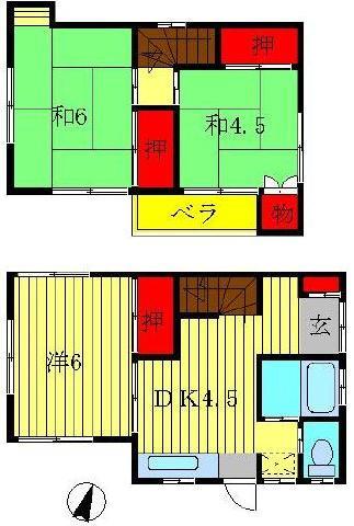 増尾 徒歩7分 2-1階 3K 賃貸貸家