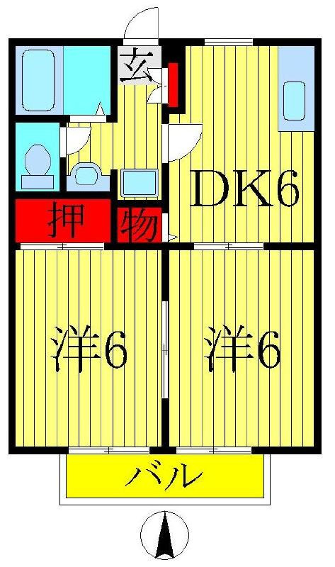 増尾 徒歩20分 2階 2DK 賃貸ハイツ