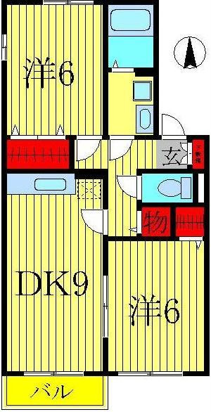 西白井 徒歩46分 2階 2DK 賃貸ハイツ