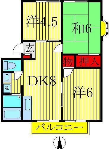 増尾 徒歩23分 2階 3DK 賃貸ハイツ