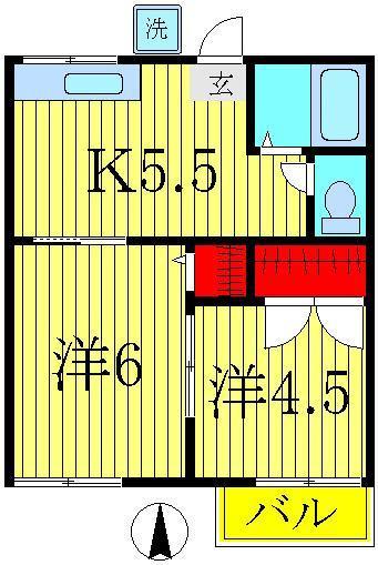 増尾 徒歩30分 1階 2K 賃貸ハイツ