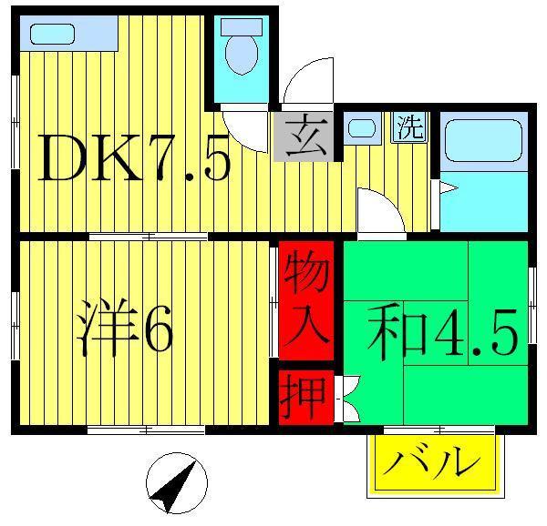 逆井 徒歩13分 1階 2DK 賃貸コーポ