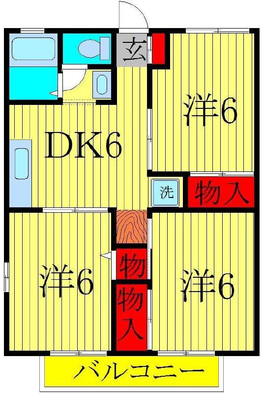 柏の葉キャンパス 徒歩33分 2階 3DK 賃貸ハイツ