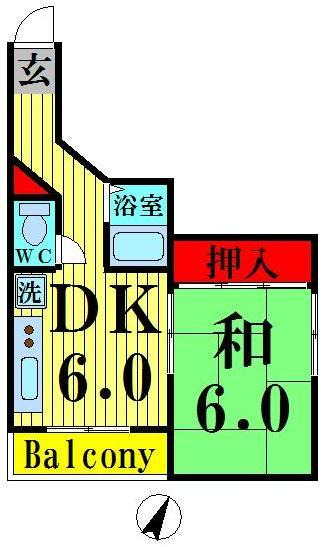 見沼代親水公園 徒歩3分 2階 1DK 賃貸マンション