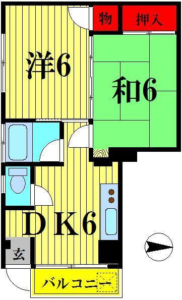 竹ノ塚 徒歩17分 1階 2DK 賃貸マンション