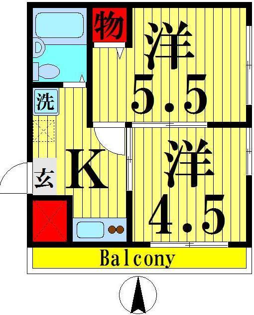 西新井 徒歩16分 2階 2K 賃貸マンション