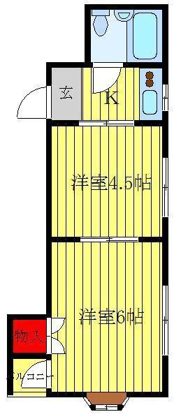 大山 徒歩17分 2階 2K 賃貸マンション