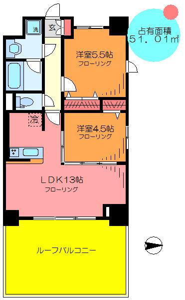 間取り/地積図3東南西面採光角部屋