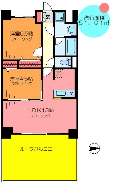 間取り/地積図オールフローリング/カウンター式キッチン/玄関ホール/脱衣所