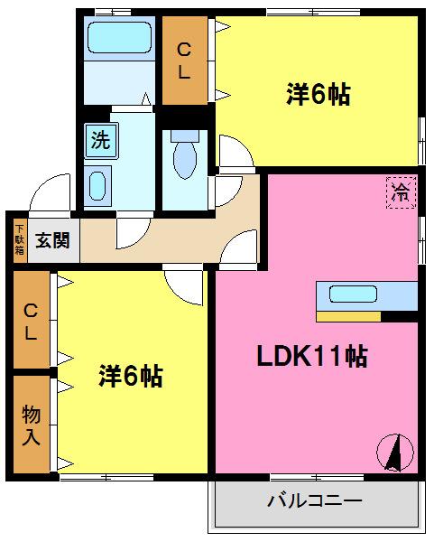 間取り/地積図人気の2部屋洋室です
