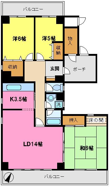 間取り/地積図ポーチ横トランクルーム無料