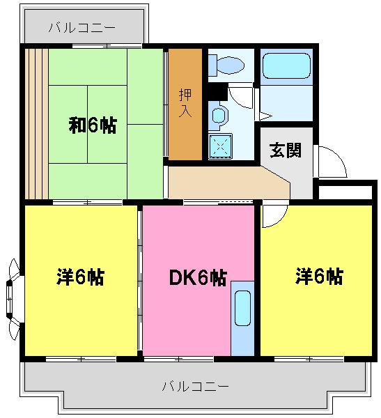 間取り/地積図55.4平米 3DK