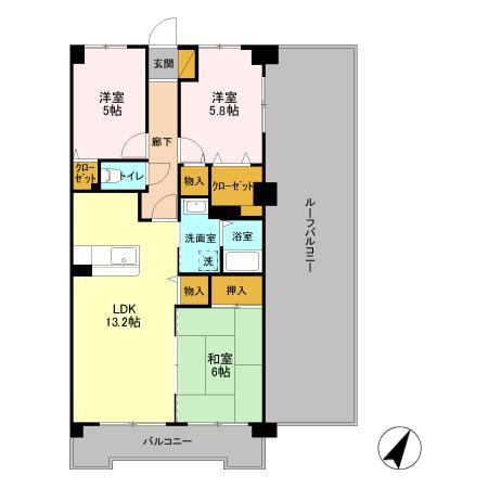 間取り/地積図704号室は側面にルーフバルコニーがあります。