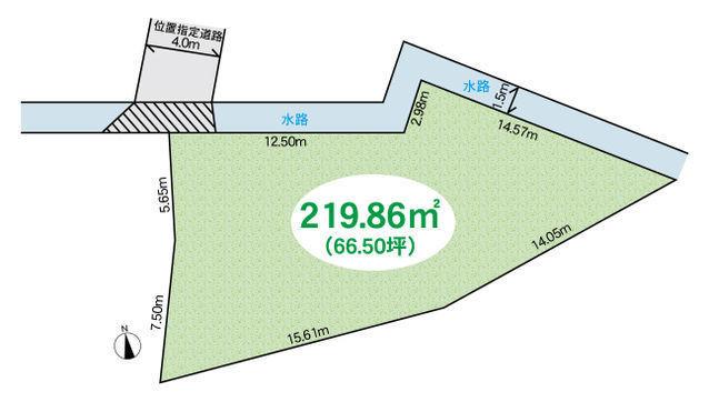 間取り/地積図土地66.5坪、建築条件はございません