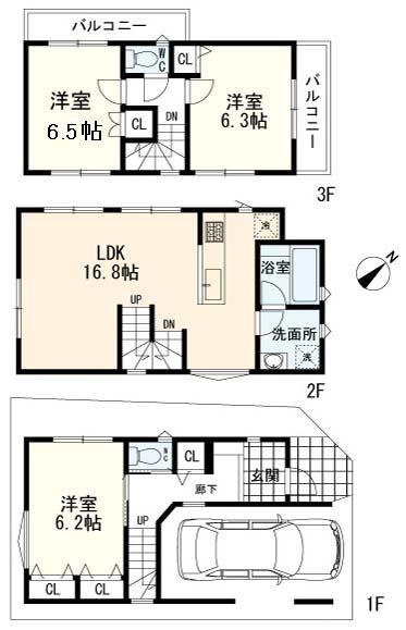 間取り/地積図A区画:建物参考プラン(3LDK 建物参考価格1650万円(込))