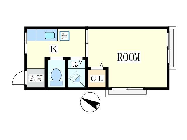 関山アパート2階1R 賃貸アパート