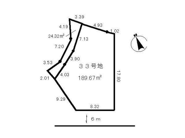 間取り/地積図間取り:桜ヶ丘 土地(33号地) 地形図