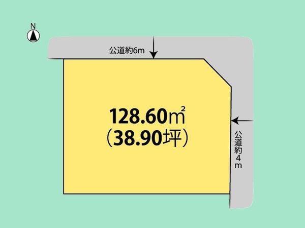 間取り/地積図間取り:敷地広々38.9坪。