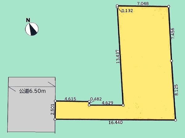 間取り/地積図間取り:敷地面積129.69平米。更地物件です。