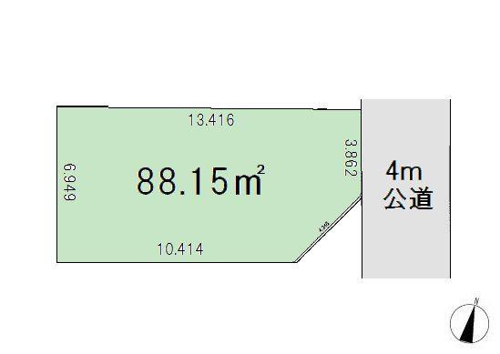 間取り/地積図■敷地26坪超の整形地■