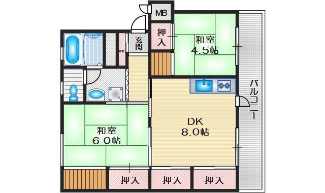 青葉ハイツ12号棟 4階 2DK 賃貸マンション