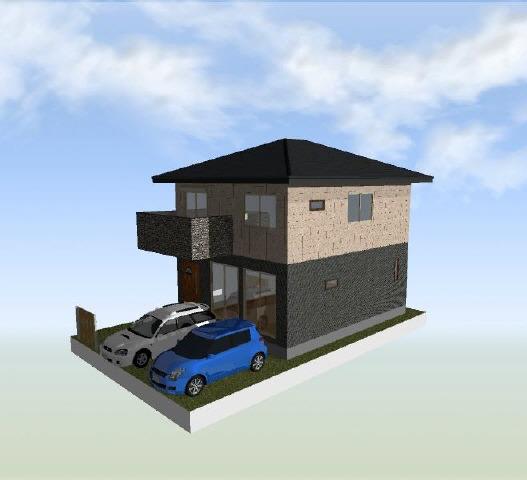 その他2号棟 敷地図からの区画イメージパースです。車、外構は含まれません。