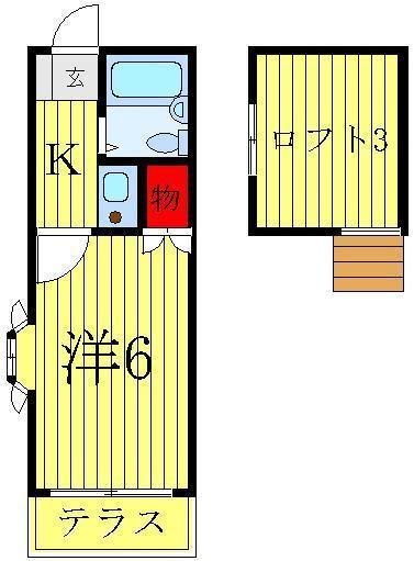 柏 徒歩51分2階1K 賃貸コーポ
