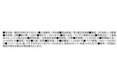 ★仲介手数料無料★三ッ沢ハイタウン1号棟 / 神奈川県横浜市西区宮ケ谷25-2