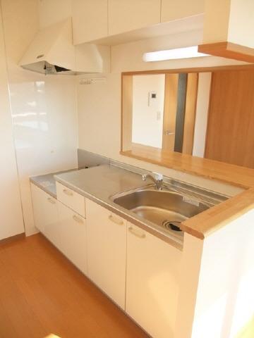 キッチン2口ガスコンロ設置可。