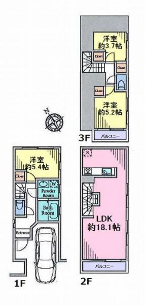 間取り/地積図3階建て3LDKの参考プラン