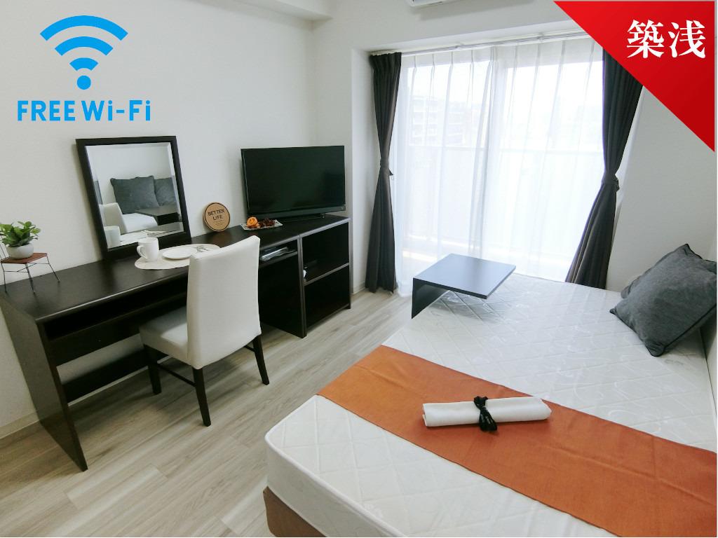 堺筋本町 徒歩5分1K/マンスリーリブマックス心斎橋ブライト【Wi-Fi対応・洗浄機