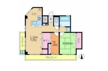 サングレース渡田 2階 2LDK 賃貸マンション